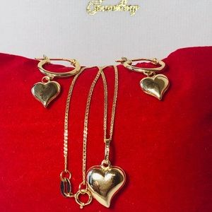 18K REAL GOLD HEART SET